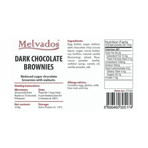 [Reduced Sugar] Dark Chocolate Brownie - 4pcs