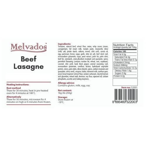 Beef Lasagne - 4 Portions