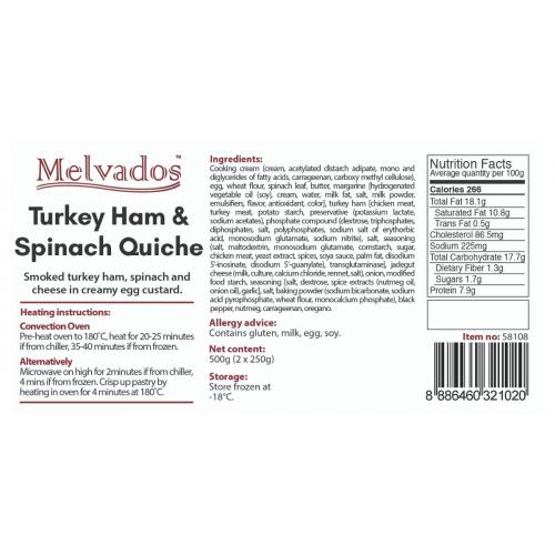 Turkey Ham & Spinach Quiche - 2pcs