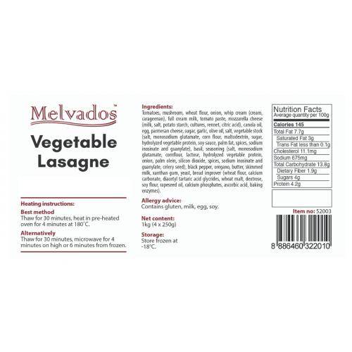 Vegetable Lasagne - 4 Portions