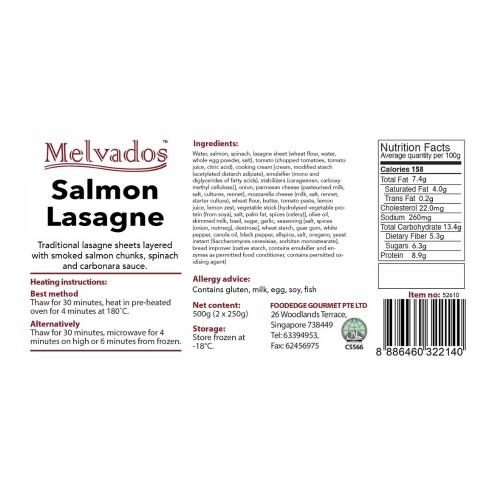 New! Salmon Lasagne - 2 Portions